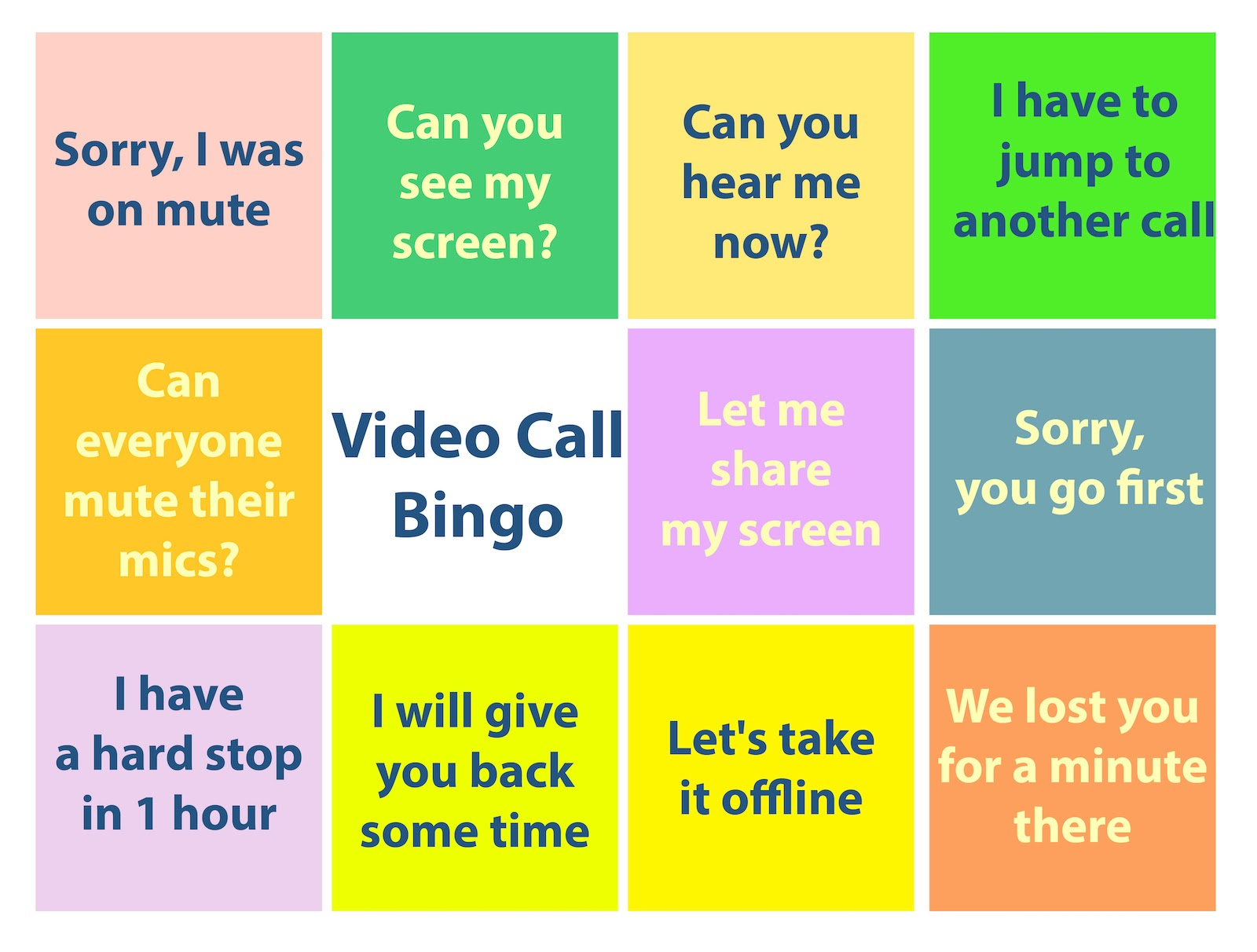 A virtual meeting bingo card