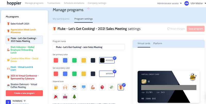 A virtual credit card to use as an incentive for virtual meeting participation