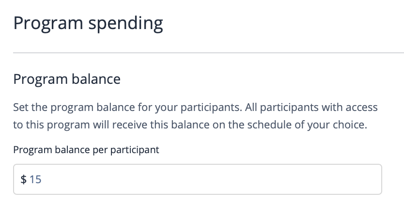 The spending limit on a virtual coffee program