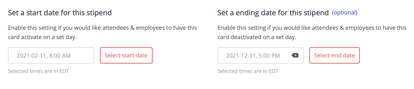 Start and end date for a virtual credit card program