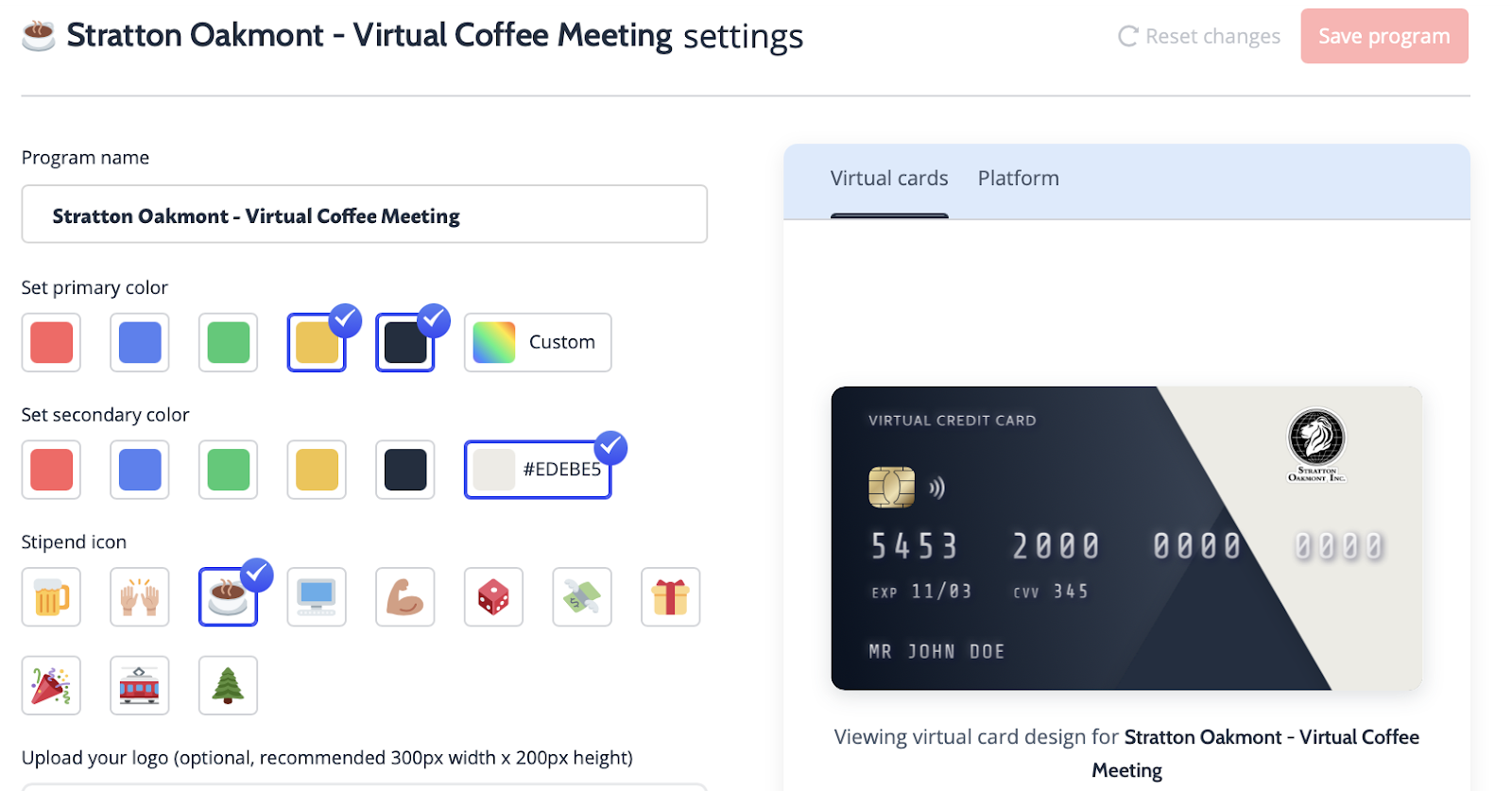 A virtual credit card to buy guests coffee at a virtual coffee meeting