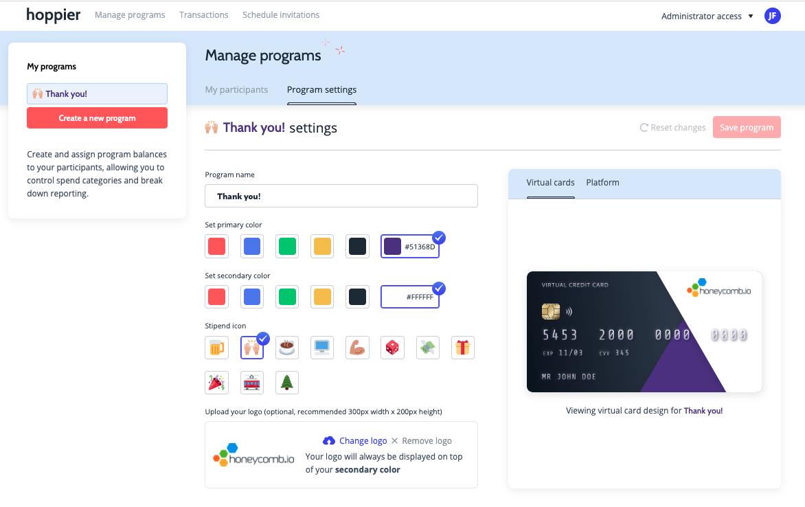 A Hoppier digital credit card program