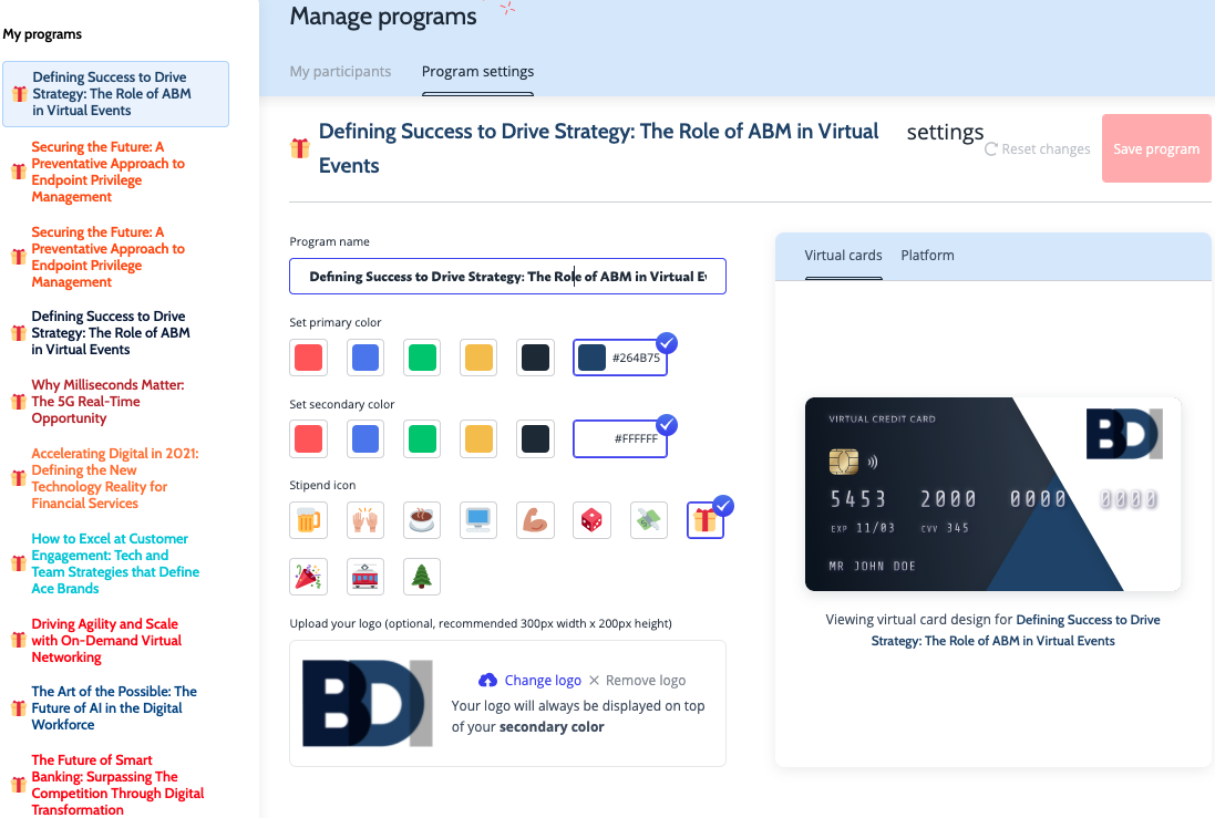 A Hoppier virtual credit card program