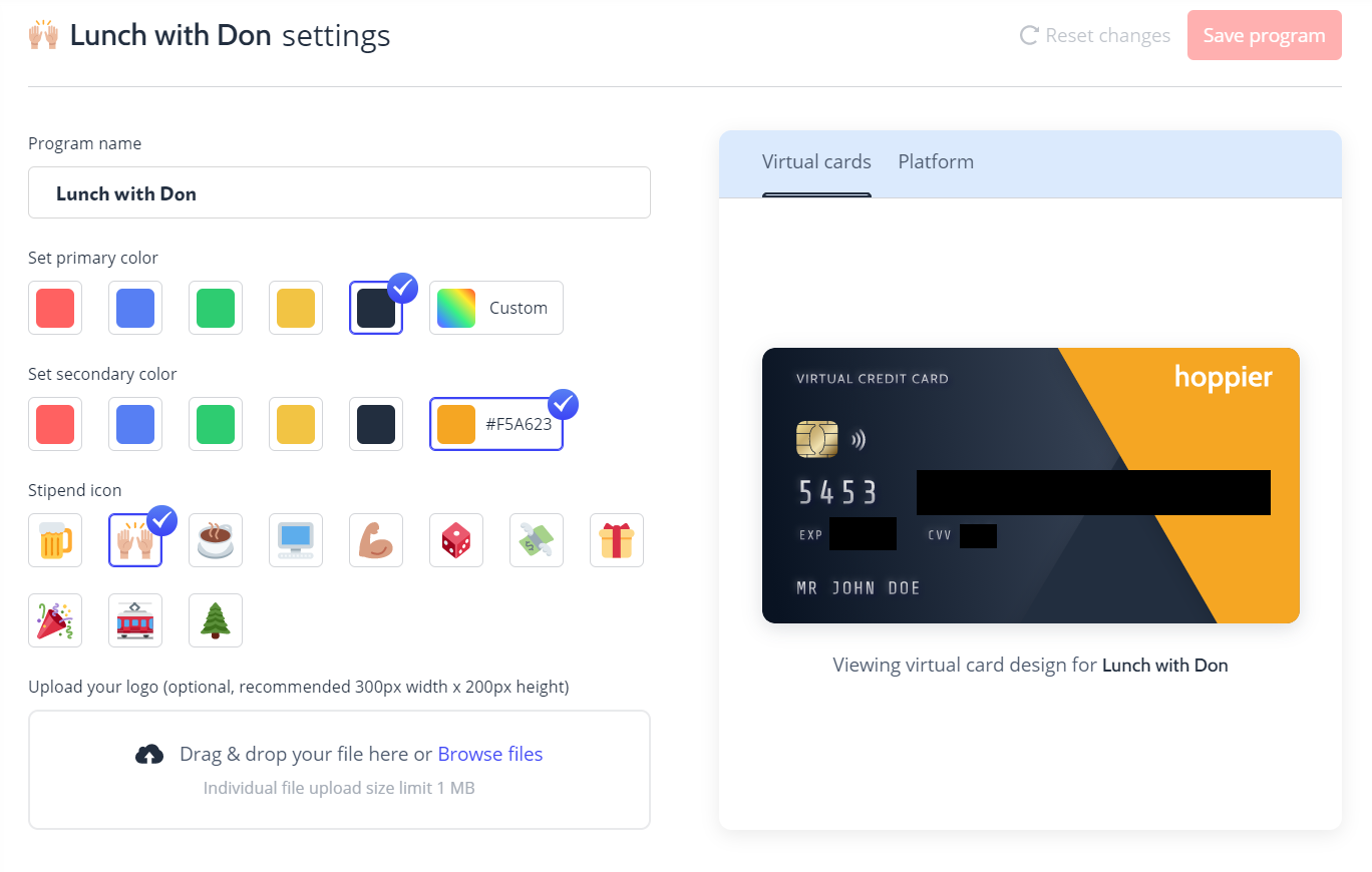 A virtual credit card used to cater a webinar