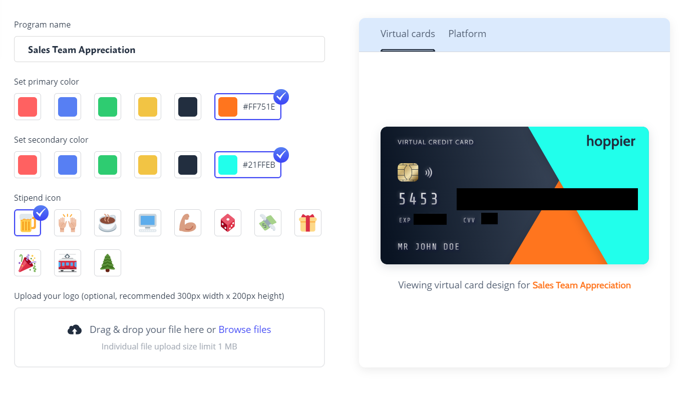A virtual credit card that can be customized in brand colors
