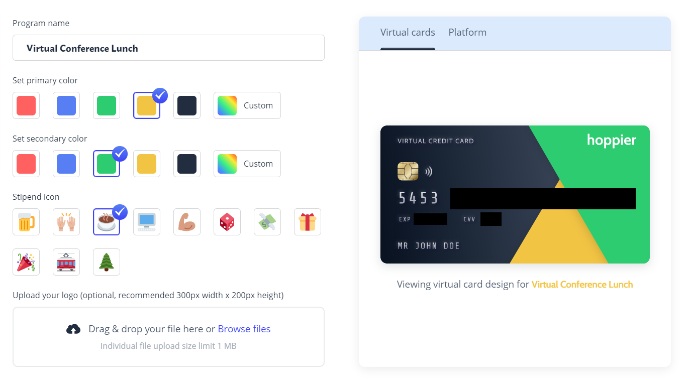 Catering ideas: A virtual credit card that allows guests to order their own food
