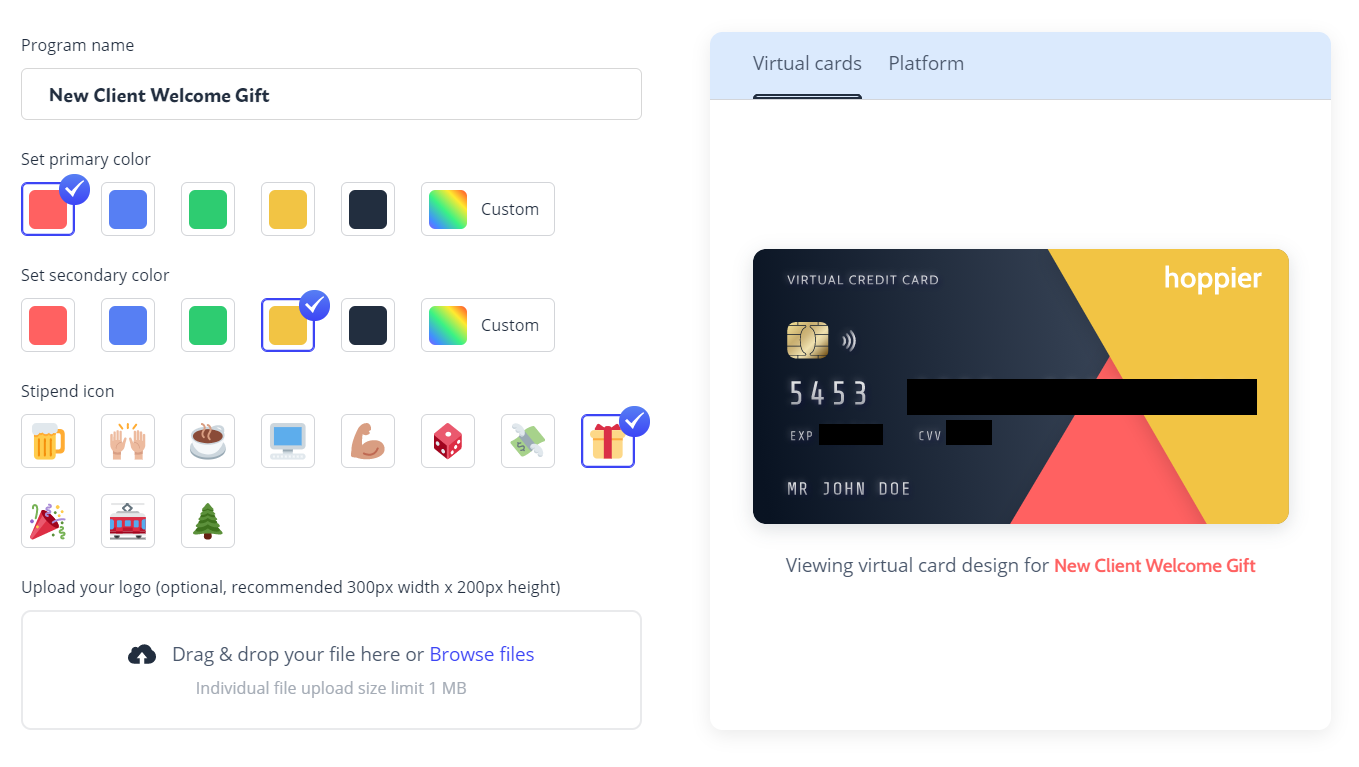 Corporate gifts for clients: A virtual credit card