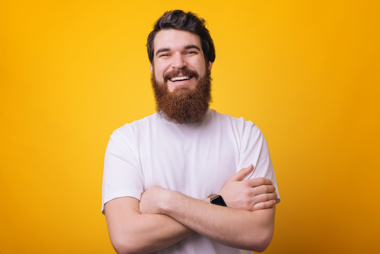 A man looks happy about engagement marketing