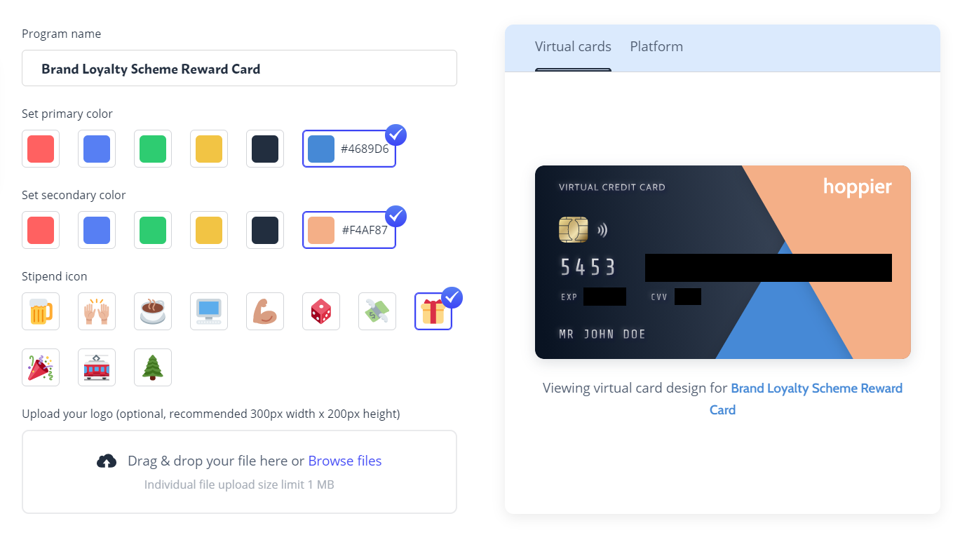 A virtual credit card that can facilitate customer or employee engagement strategies