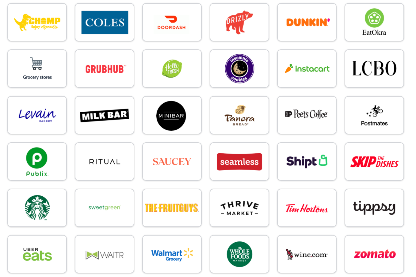 Vendors that team members can purchase from using a virtual credit card