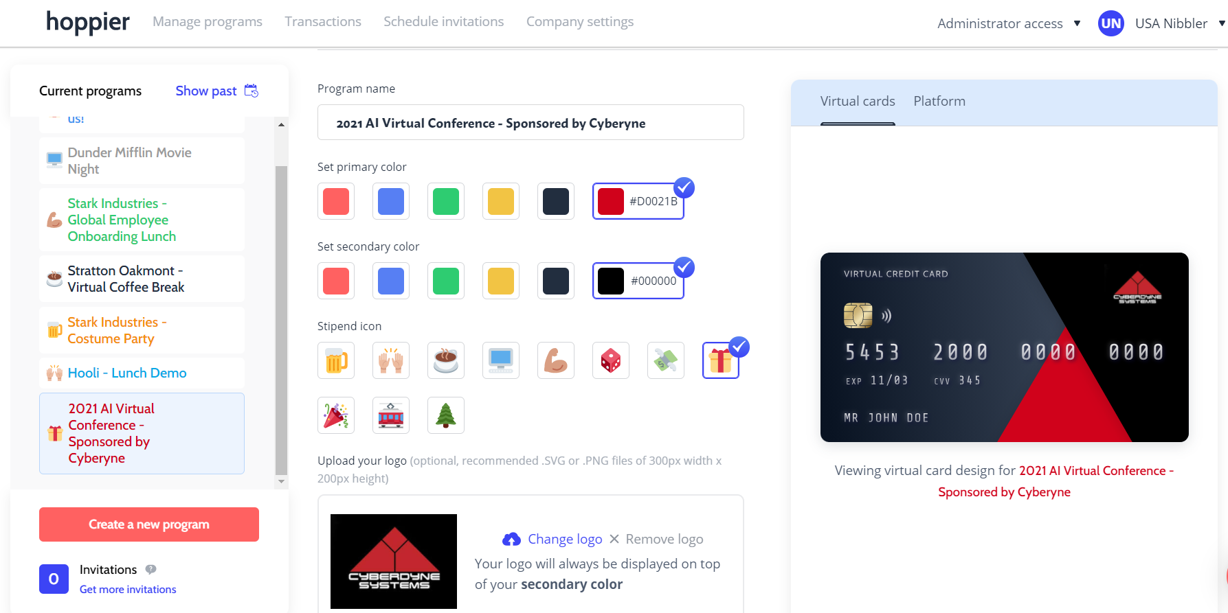 A virtual credit card that serves as an audience engagement tool