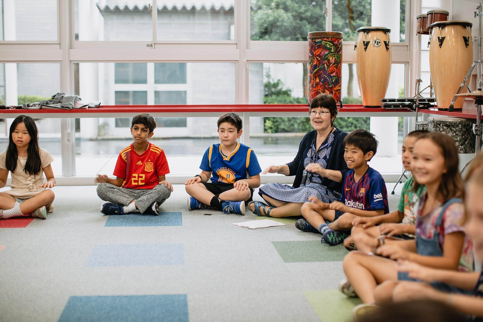 Elementary School Students Sing in Music Class