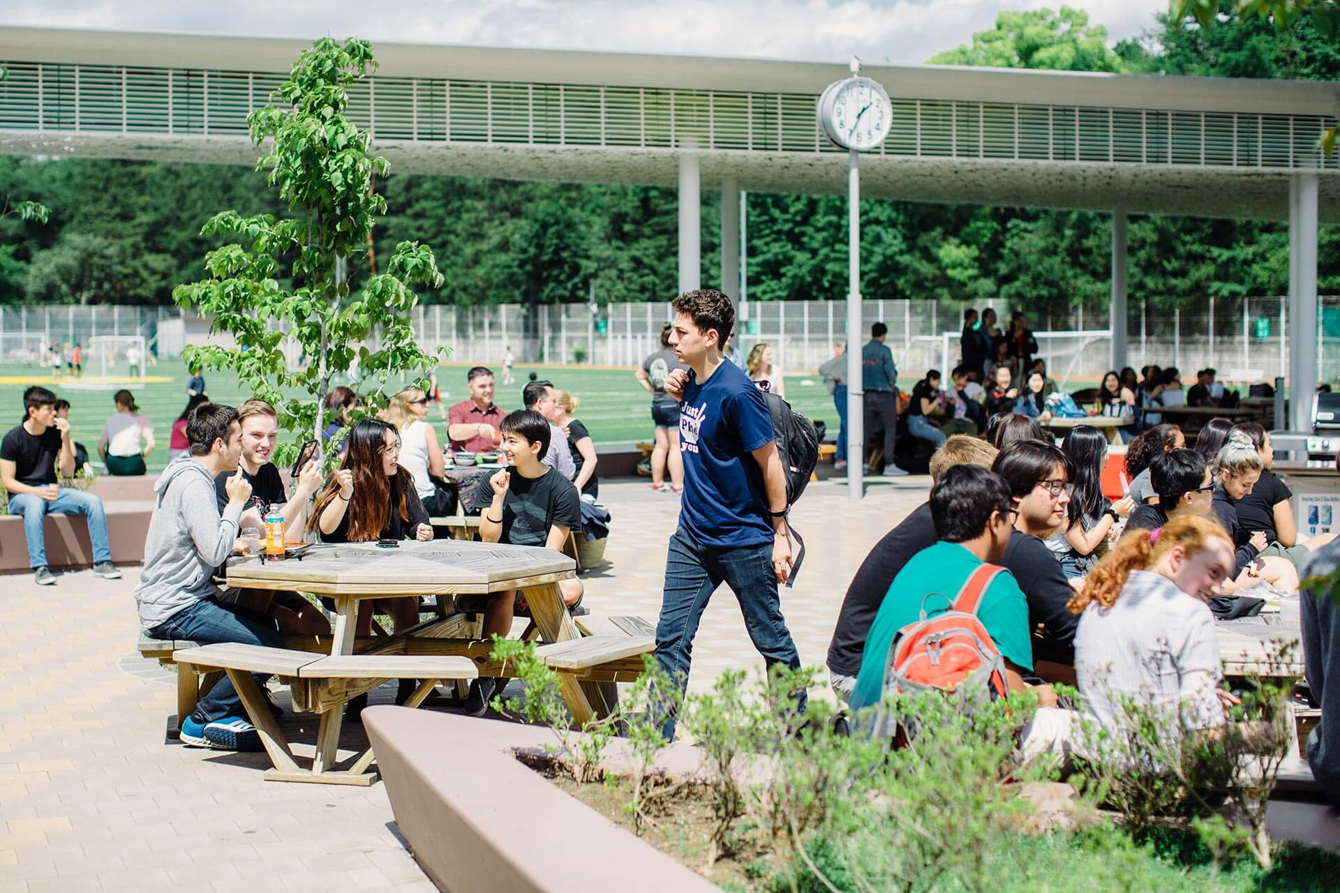 Students Socialize in the Main Courtyard
