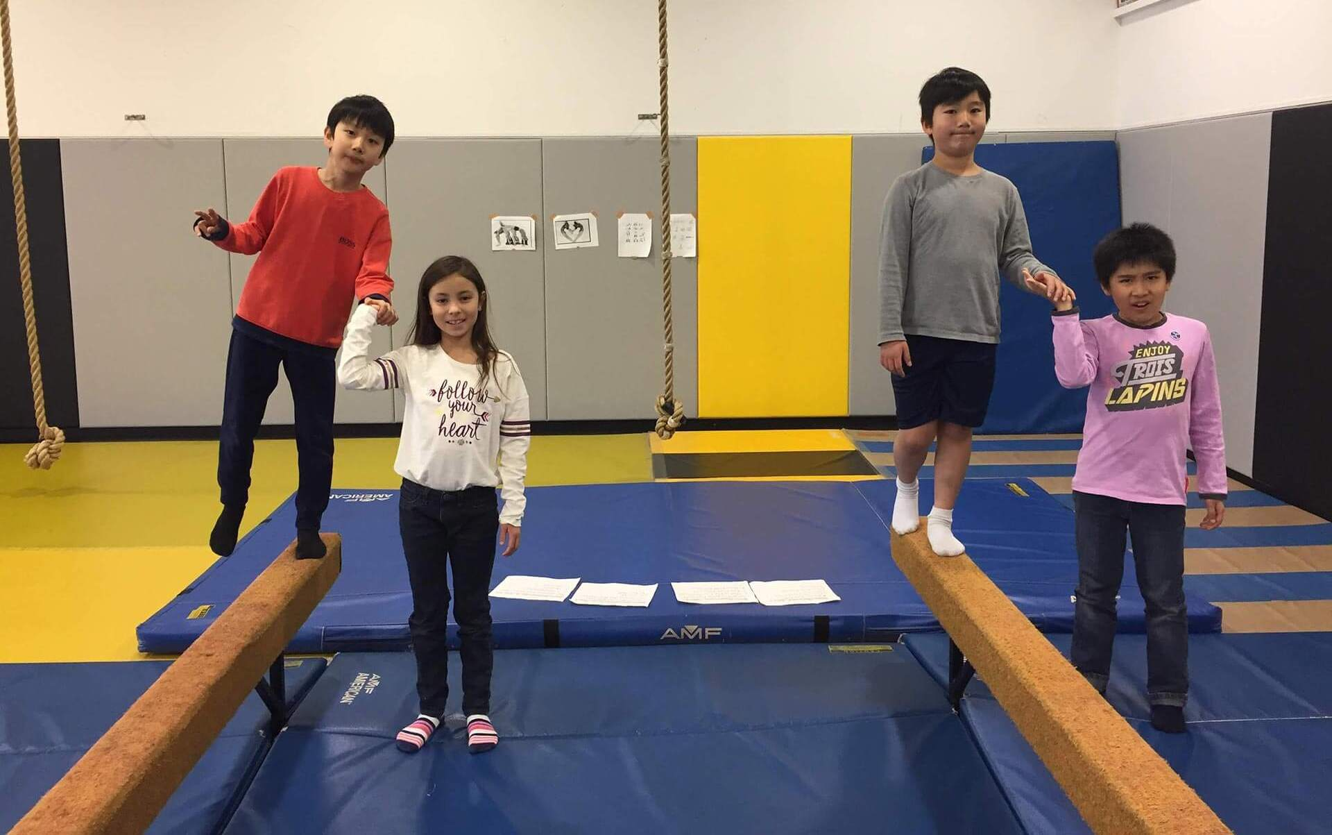 Elementary Students in the Wrestling & Gymnastics Room