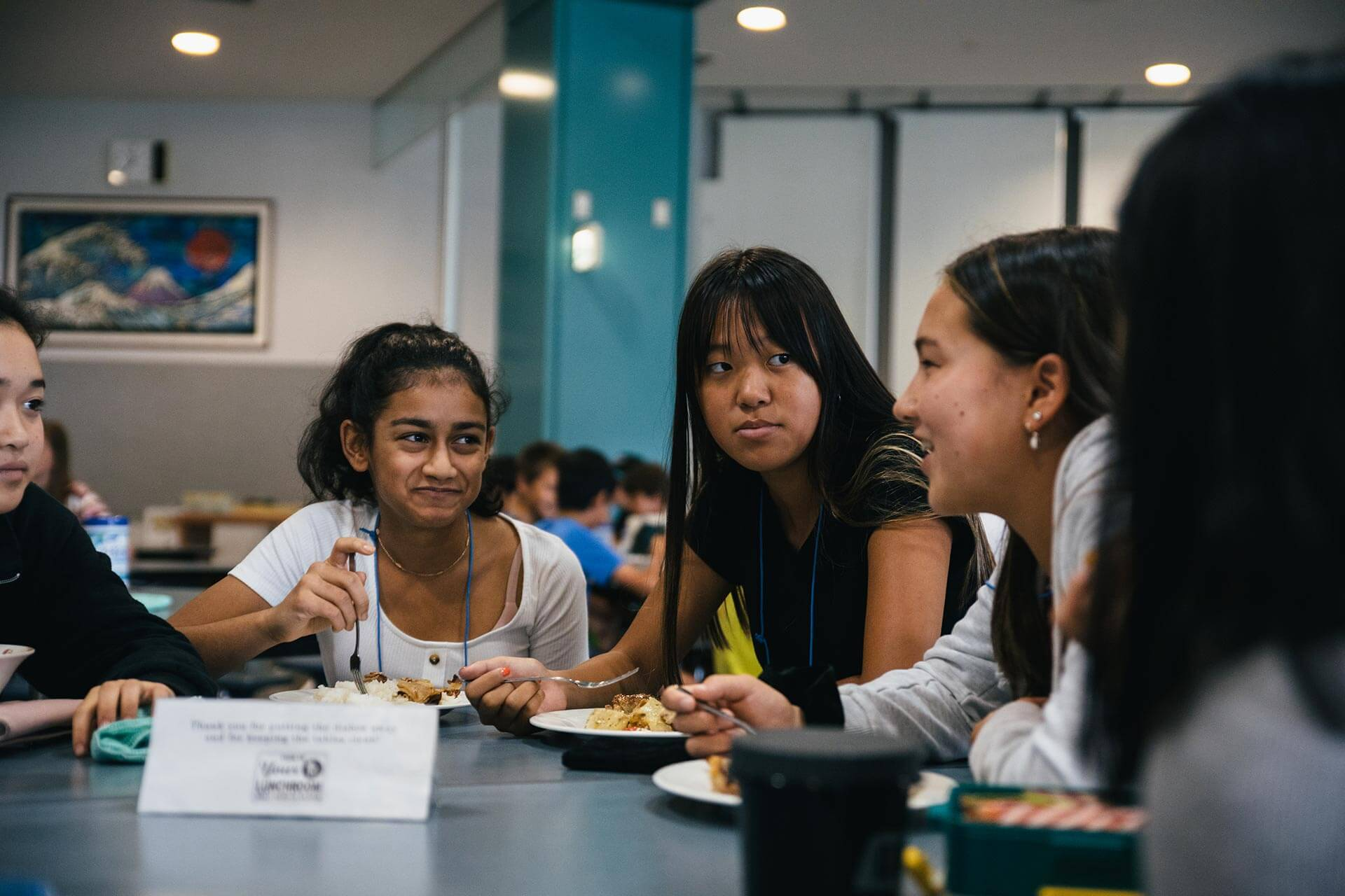 Students Socialize at Lunch in the ASIJ Cafeteria