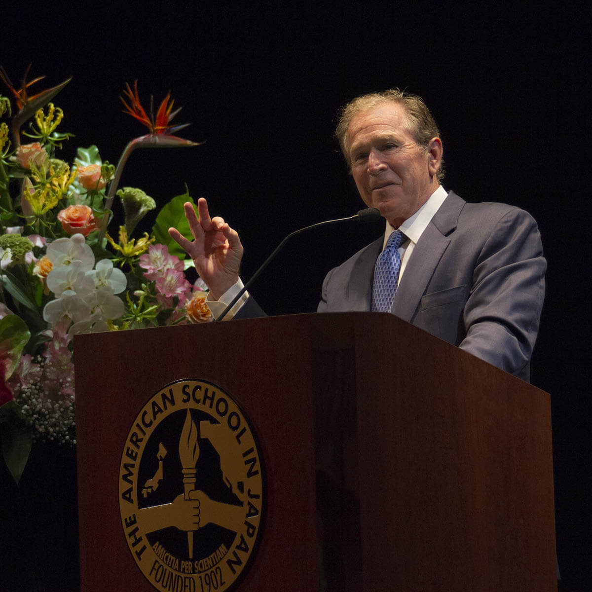 President George W Bush, at Podium, Speaks to Students in the ASIJ Theater