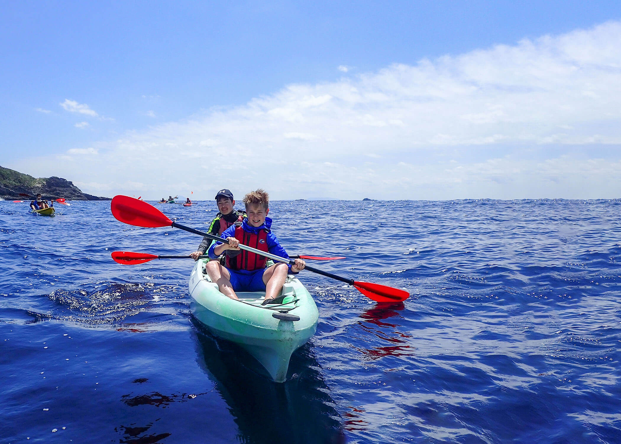 Two Middle School Students Kayak in Izu
