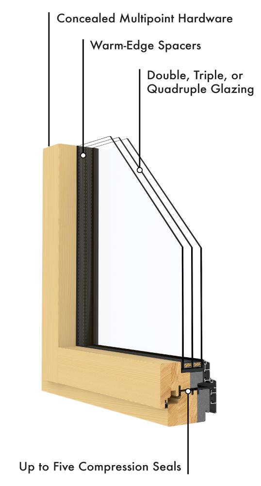 Clad Wood window labeled illustration