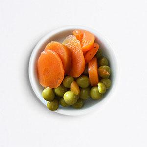 Petits pois carottes cuits