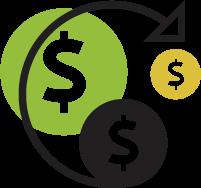 Revenue increase icon.
