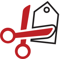 Scissors cutting a tag to show cost reduction.