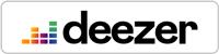 Black and multi-colored Deezer badge