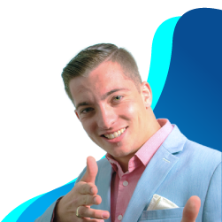 Young, neatly groomed businessman wearing a blue dress jacket smiling with an animated pose
