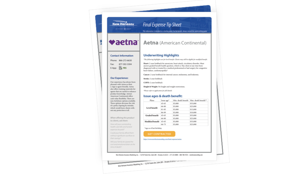 Aetna and LBL Now Available in the Final Expense Tip Sheets