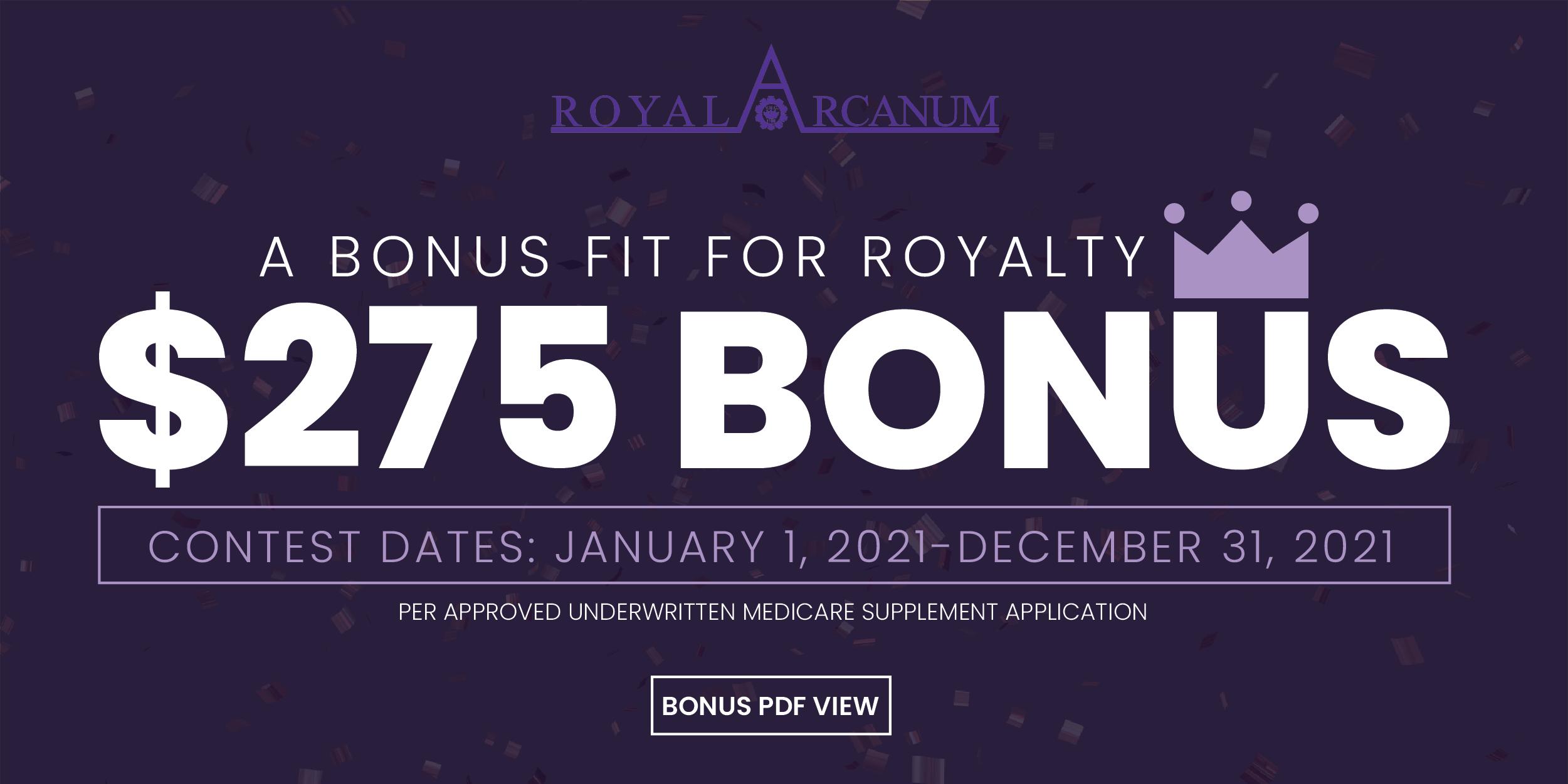 Royal Arcanum Medicare Supplement Cash Bonus