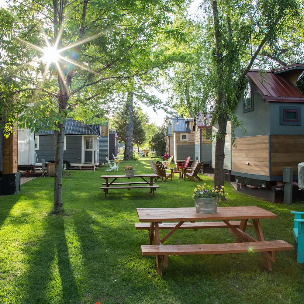 Tiny House Community in woodland area