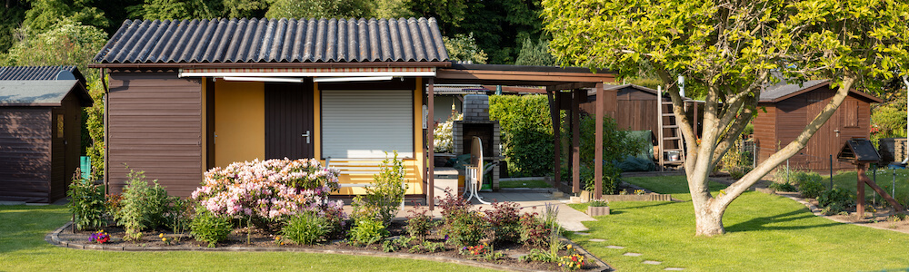 Small Tiny House Community with shared garden and tool sheds
