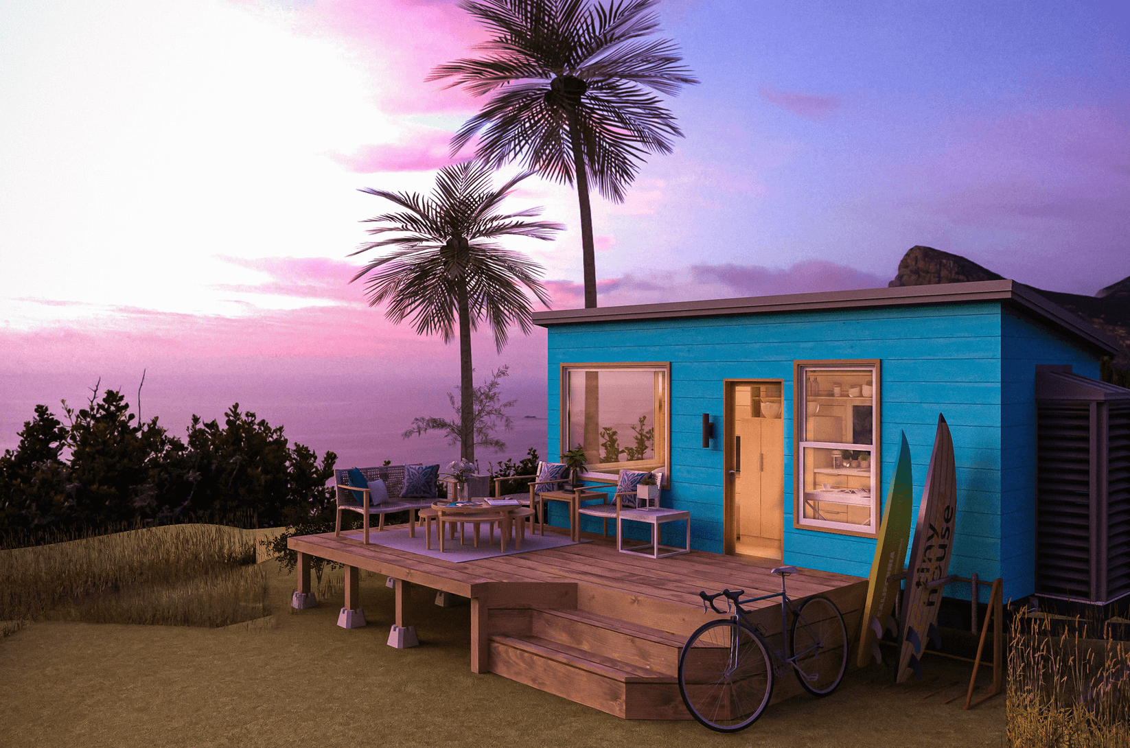 Tiny Home with Palm trees and sunset