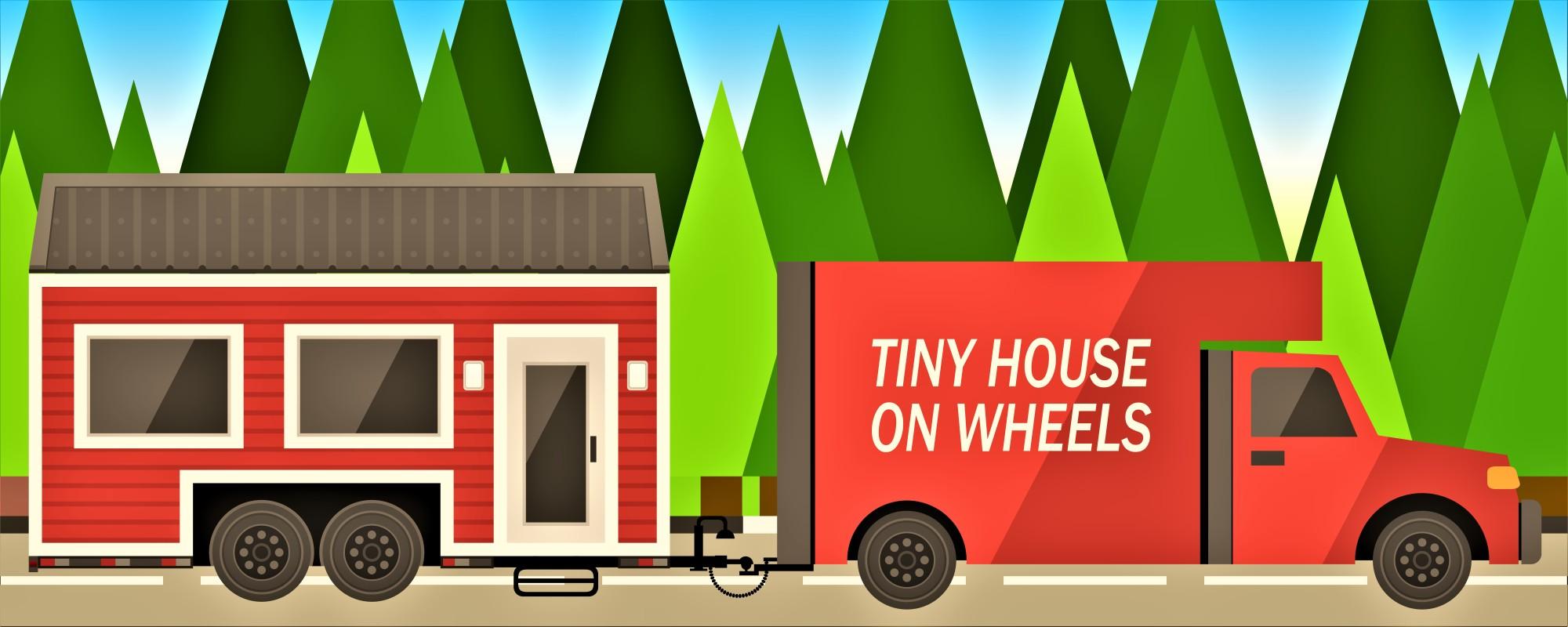 Cartoon truck pulling tiny house