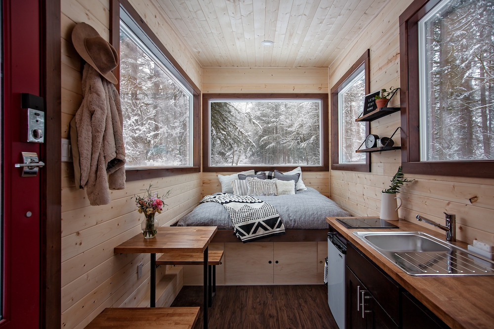 Tiny House In snow and cold weather climate