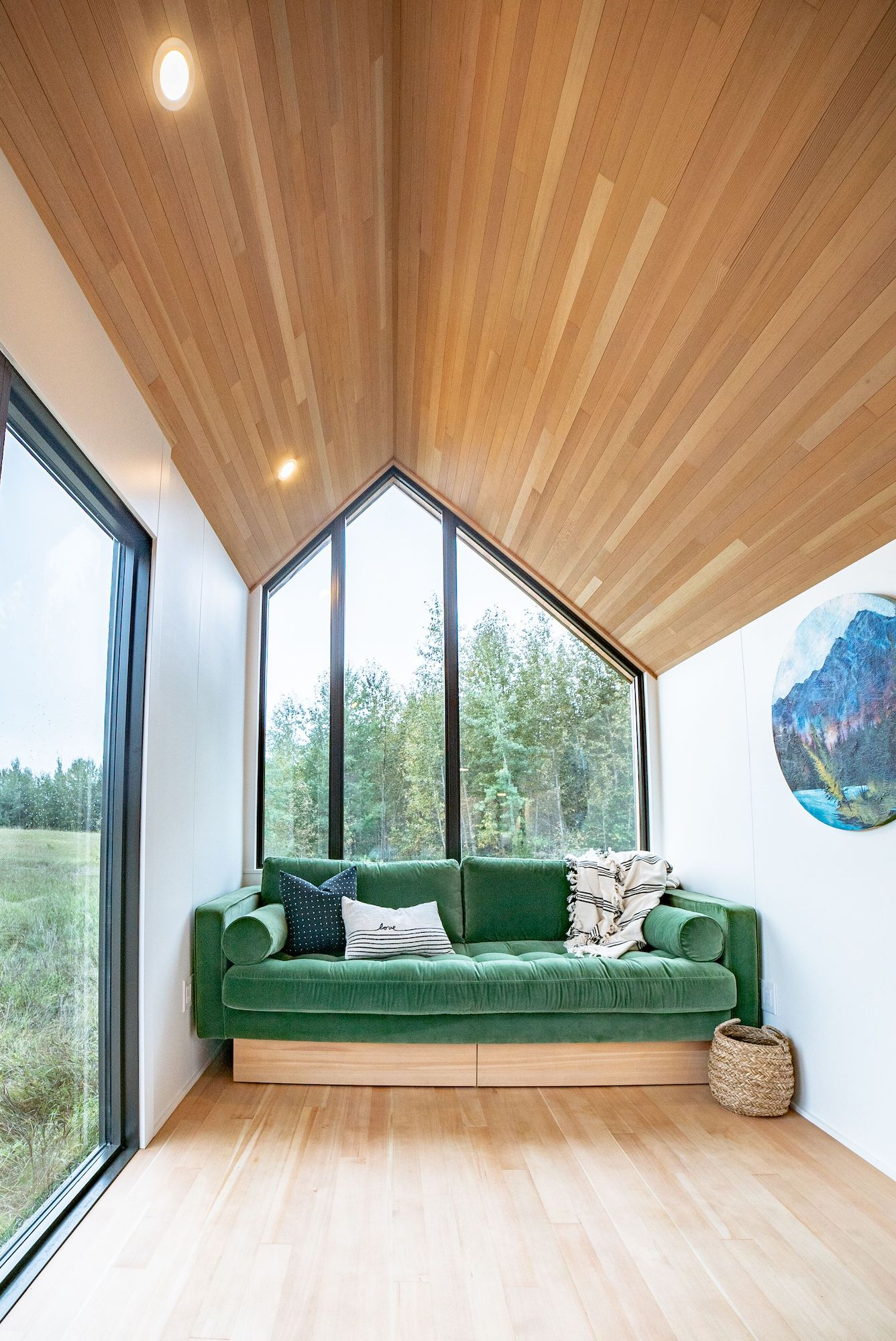 Couch and window in tiny house