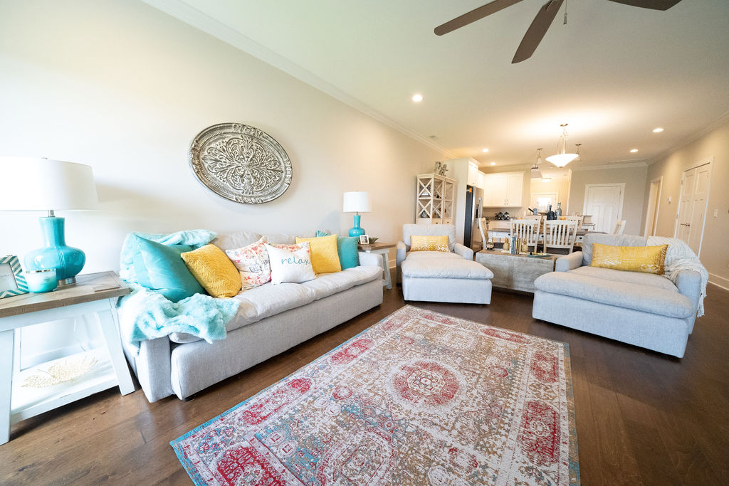 Living room furniture set in lake villa town house