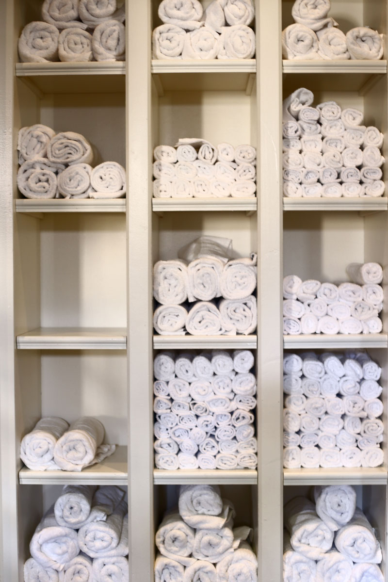 shelves of towels