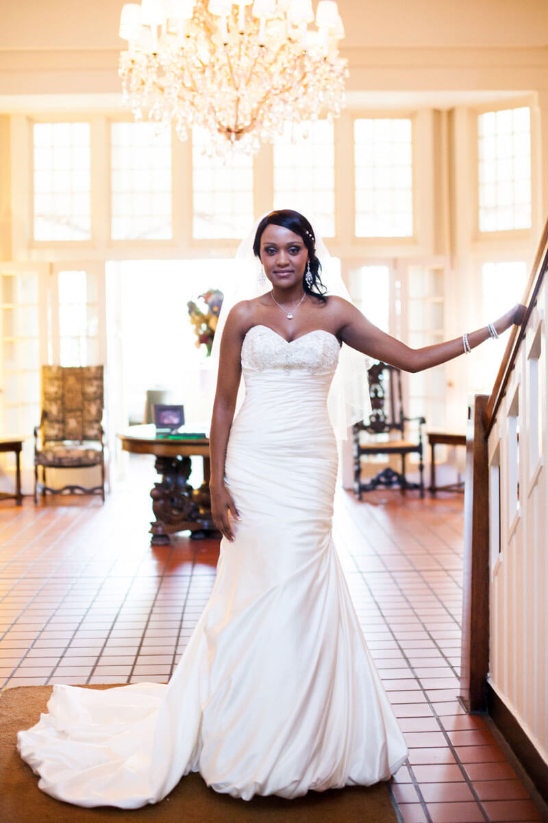 bride standing in the University Club  lobby