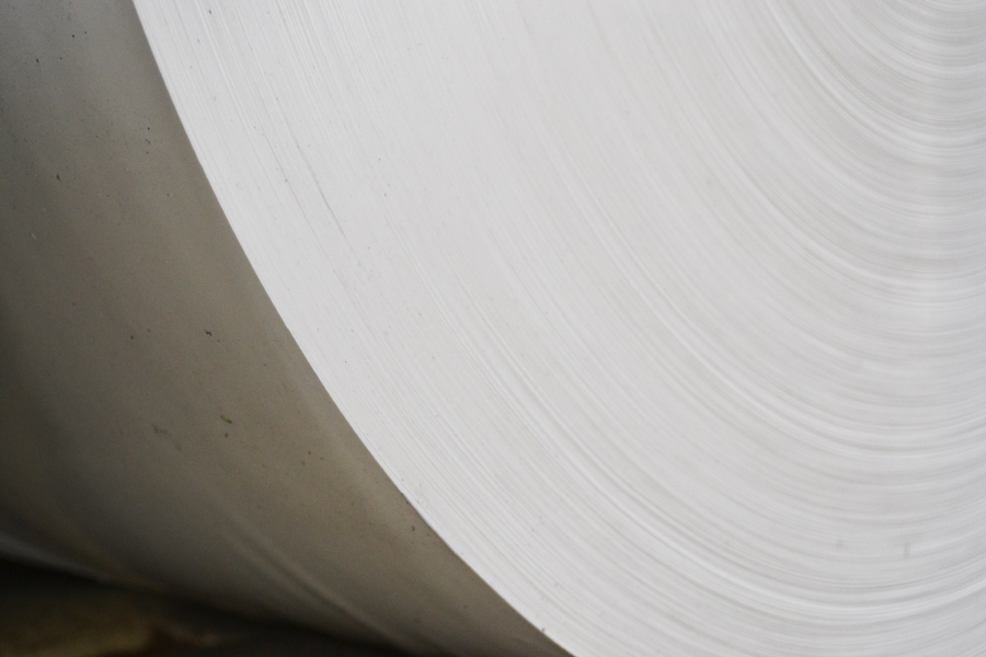 A side angle shot of a roll of Valéron plastic performance film.