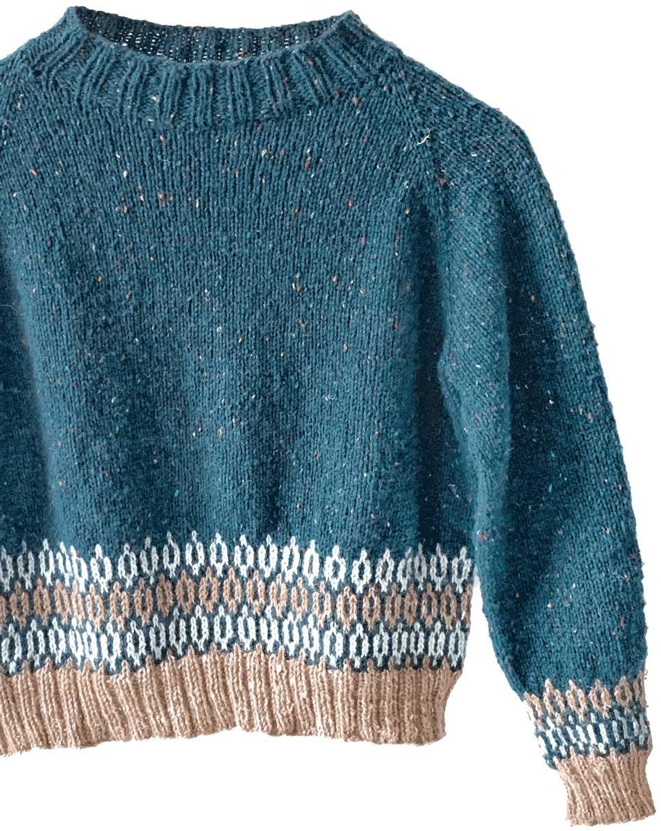 Bellish Raglan Sweater Cropped Body Fulll Sleeve with Colorwork