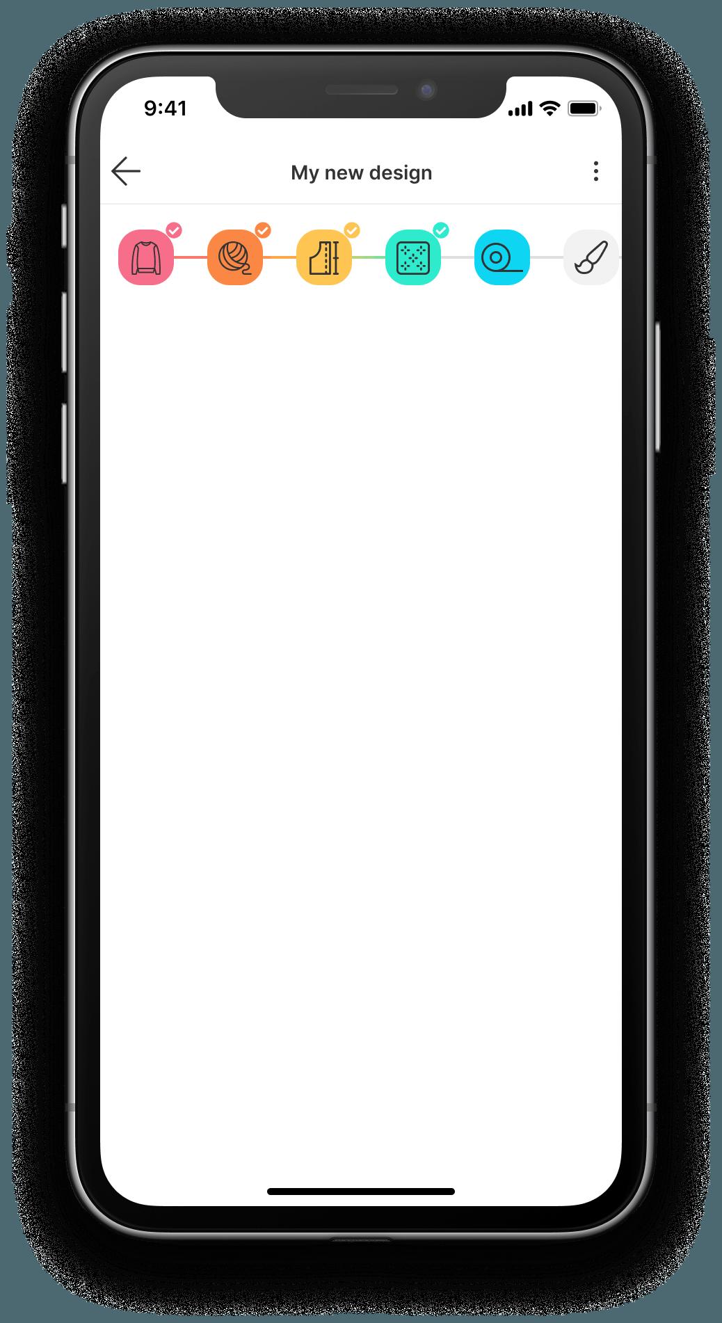Bellish iPhone app screen pattern designer with scrolling raglan sweaters