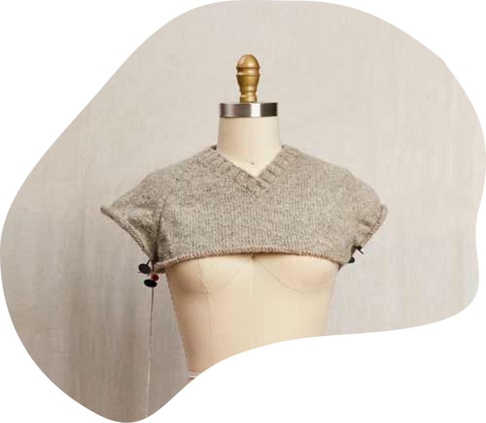 Bellish raglan sweater WIP on mannequin