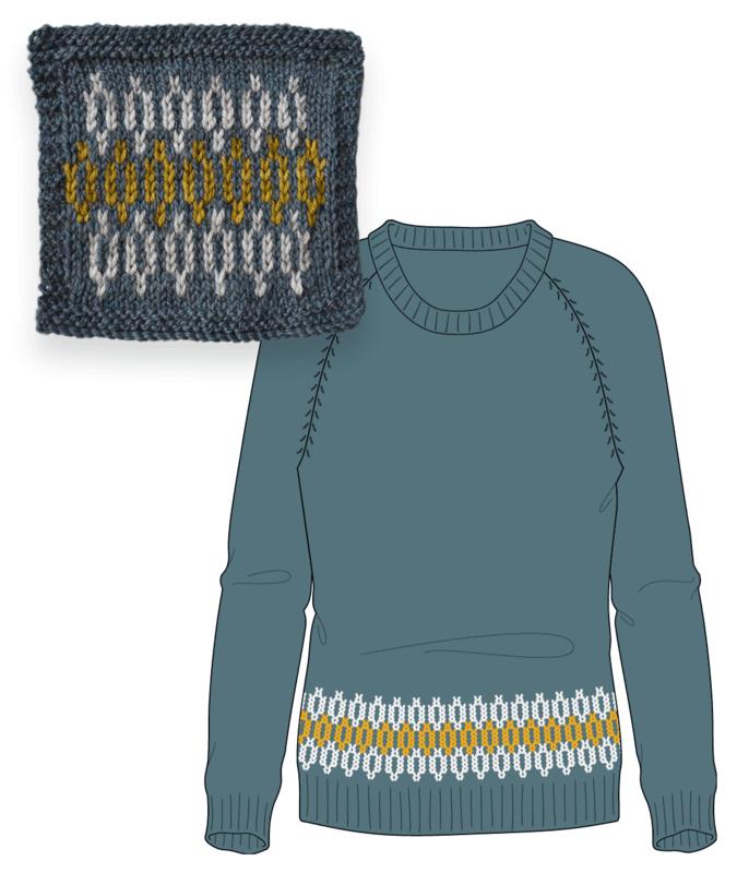 Bellish Colorwork Swatch & Raglan Sweater Illustration