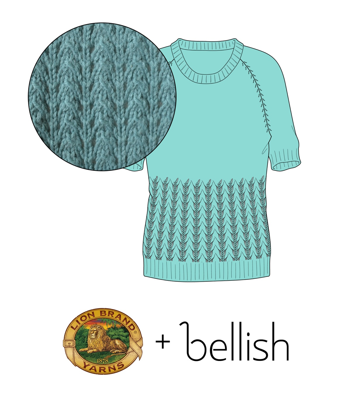 Bellish Little Fountain Lace Sweater Illustration with Swatch from Lion Brand Yarns