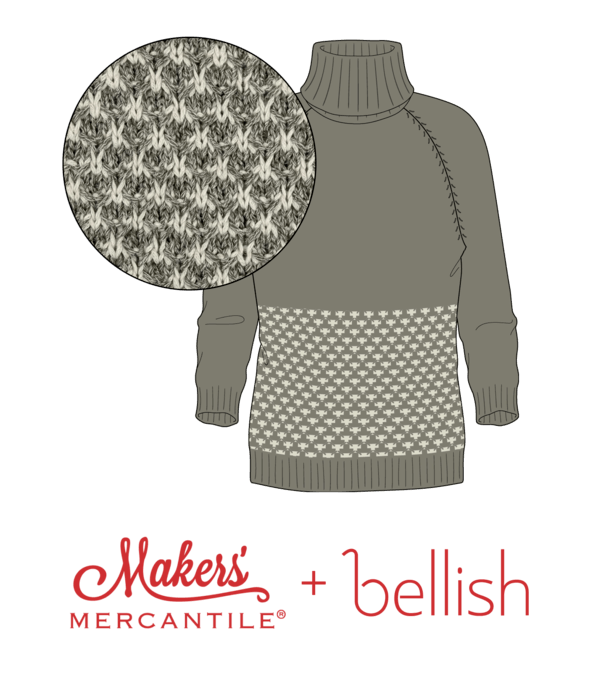 Bellish Colorwork Swatch & Raglan Sweater Illustration with Makers' Mercantile