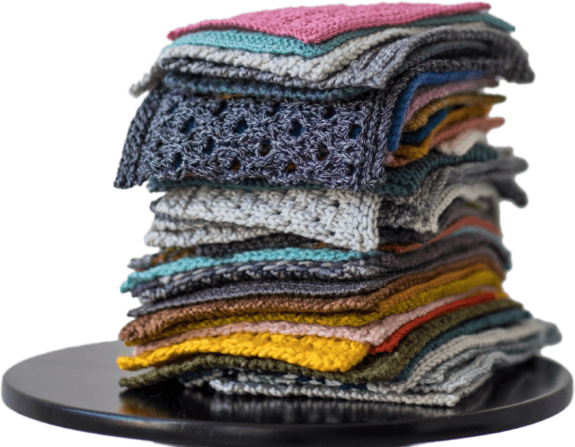 Stack of bellish knit swatches
