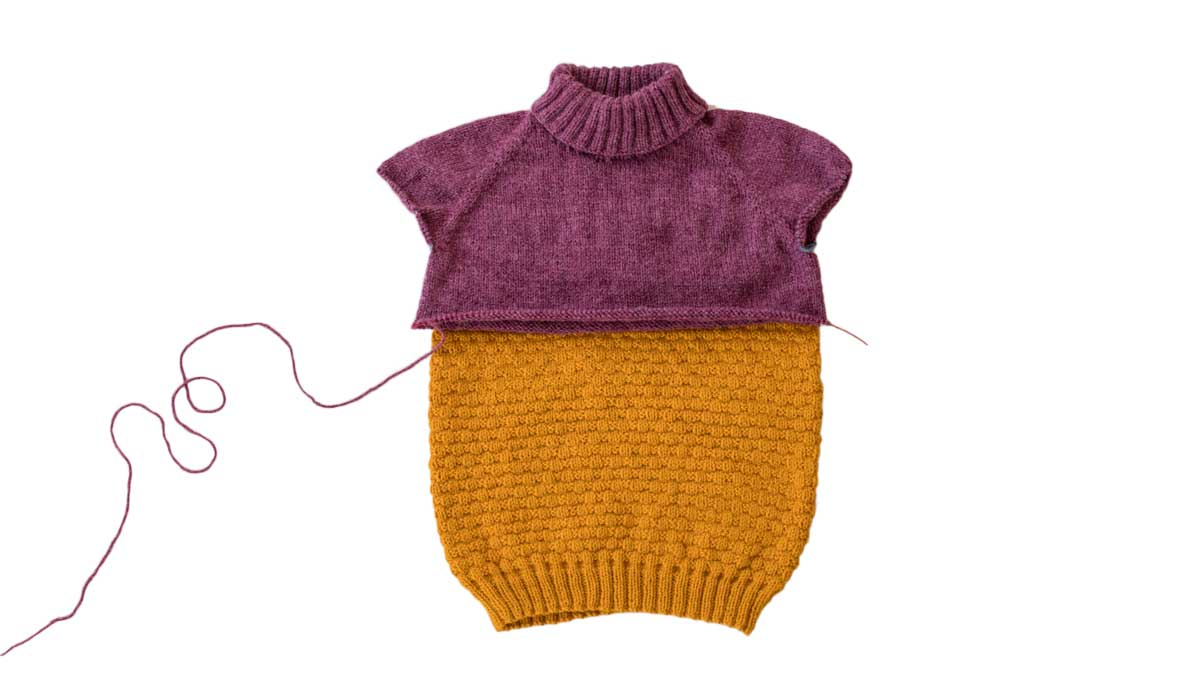 WIP Bellish hand knits raglan sweaters in mustard and wine colors