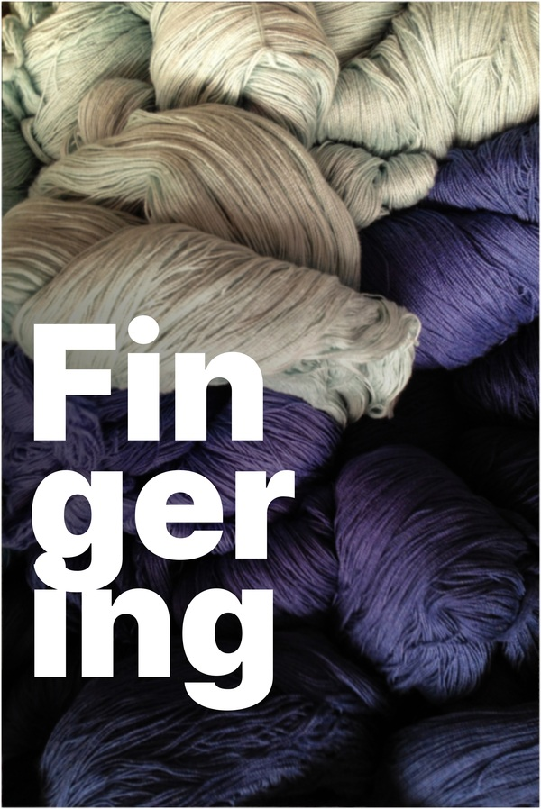 Fingering weight yarn in natural and purple hues