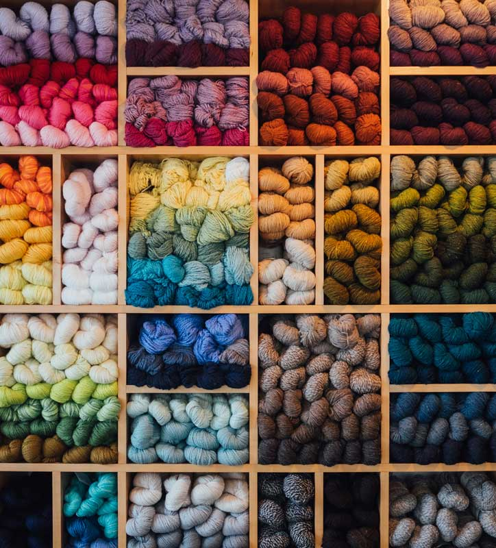 Wall of yarn skeins. Photo by Paul Hanaoka on Unsplash