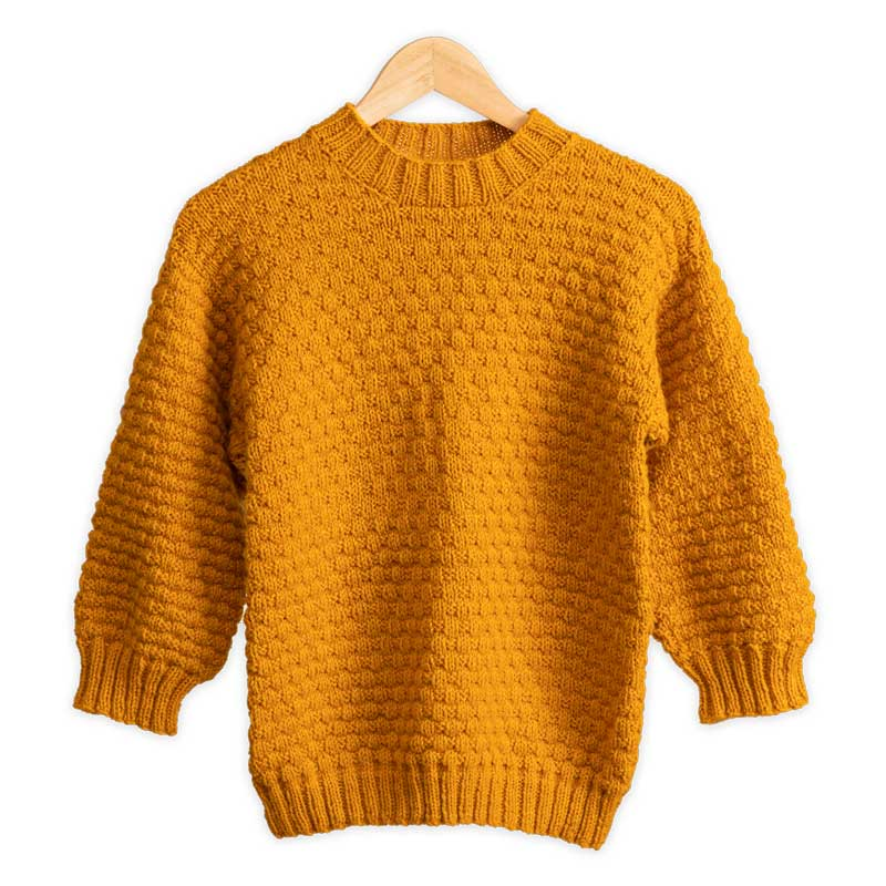 Mustard Colored Three Quarter Sleeve Hand Knit Dropshoulder Sweater in Basketweave Stitch